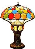Lámpara de mesa de estilo Tiffany con pantalla de cristal para despacho, oficina, hogar, bar, dormitorio, decorativa, antigua, vintage, hecha a mano