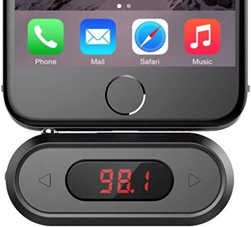 Doosl FM Transmitter, 3.5mm Car FM-Transmitter Aux Auto mit Display Musik Empfänger für iPhone 6/5/4, iPad, iPod, Samsung Geräte und Alle Smartphones-Schwarz