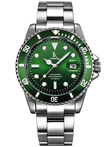 Alienwork Herren Damen mechanische Automatik-Uhr Silber mit Edelstahl Metallarmband Kalender Datum grün
