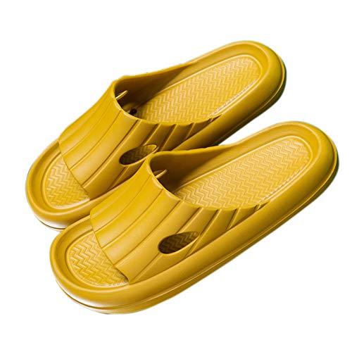 URIBAKY - Pantofole unisex per interni, suola spessa, pantofole da uomo, con cuscinetti antiscivolo, Giallo (giallo), 44 EU