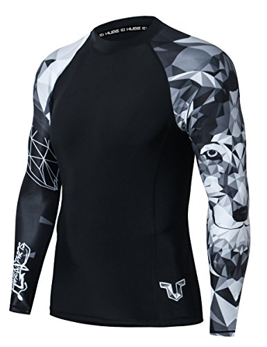 HUGE SPORTS Wildling Series UV Protection Quick Dry Compression Rash Guard (Wolf,S)