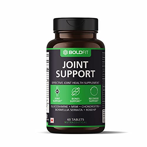 Boldfit Joint Support Supplement with Glucosamine MSM Chondroitin Boswellia Serrata and Rosehip Extract – Promotes Bones Support and Recovery Support – 60 Tablets