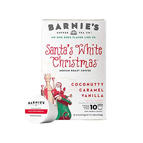 Barnie's Single Serve Santa's White Christmas Coffee Pods with Coconut, Caramel and Warm Vanilla Flavors, Medium Roast Coffee Compatible with Keurig Brewers, 10 Count