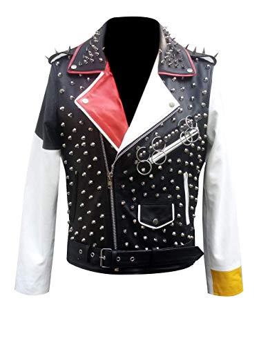 LP-FACON Chaqueta de cuero con cinturón para mujer, con varios tachuelas, Rock Punk