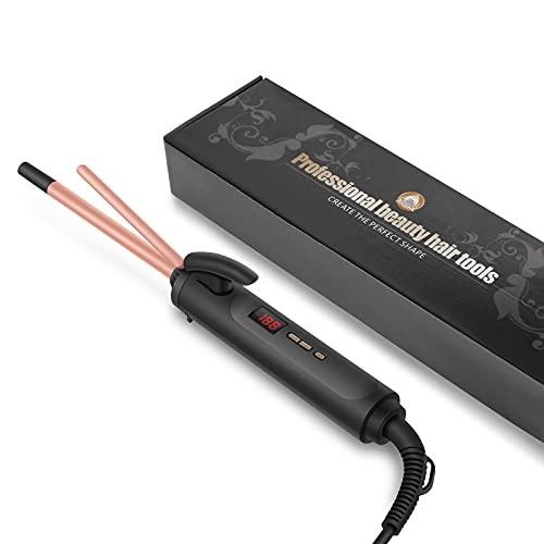 Wirhaut rizador de pelo, de 9 mm de pelo Curling Wand, temperatura 120-220 ℃ ajustable, 10s rápida Calefacción, rizador de pelo profesional con pantalla LED