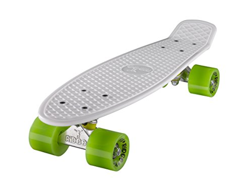 Ridge Skateboard 55 cm Mini Cruiser Retro Stil In M Rollen Komplett U Fertig Montiert Weiss Grün