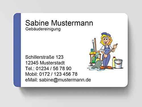 100 Visitenkarten, laminiert, 85 x 55 mm, inkl. Kartenspender - Gebäudereinigung Putzen