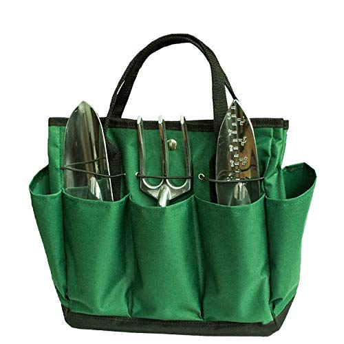 Garden Tool Bag Garden Tote Large Organizer Bag Carrier Gardening Storage Tote with Interior Exterior Side Pockets Handles Strap for Garden Plant Tool Set Store Content Bag - Dark Green Lawn Yard