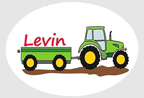 Personalisiertes Türschild Namensschild Traktor Trecker Schlepper für die Kinderzimmertür Alternative zu Holzbuchstaben inkl. 3 Klebepads zur Befestigung