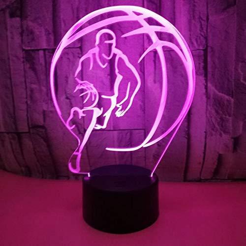 3D noche luz ilusión lámpara luces LED jugar baloncesto estéreo 7 colores Touch decoraciones regalos de cumpleaños para niños 3D ilusión óptica luces