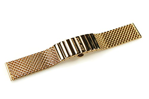 POLJOT International Uhrenarmband Metall 18mm Gelb-Gold Edelstahl Milanaise-Band Länge 13cm gerader