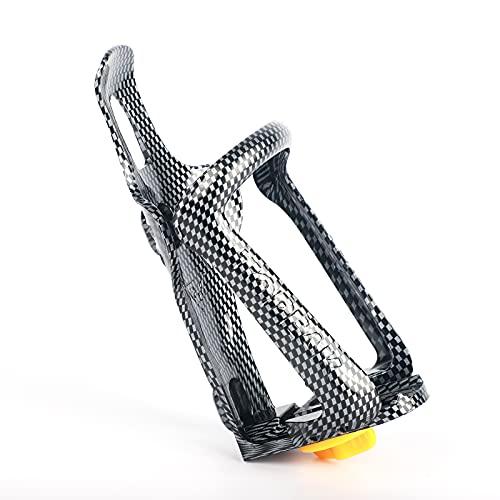 Portabidon bicicleta soporte para botella de agua, patrón de fibra de carbono,accesorios bicicleta jaula de botella de agua ligera ajustable para bicicleta de montaña carretera