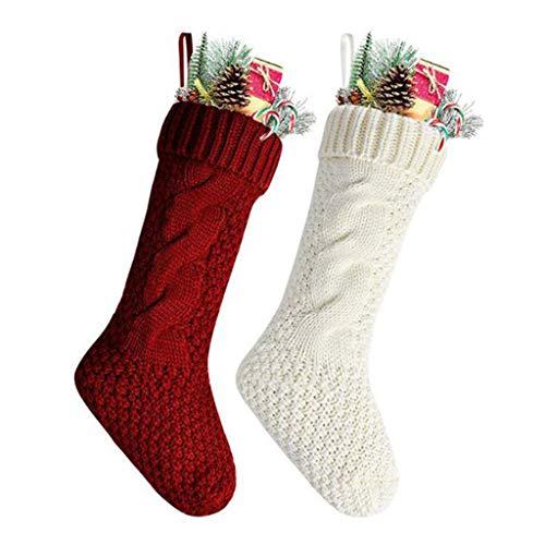 DROHOO 2Pcs Chunky Crochet Cable Knit Medias de Navidad Calcetines Colgantes de Regalo con puños Grandes, Rojo + Blanco Marfil