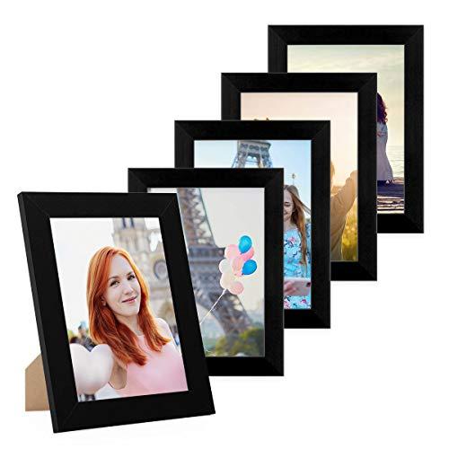 PHOTOLINI 5er Bilderrahmen-Set 10x15 cm Basic Collection, Modern, Schwarz, aus MDF, inklusive Zubehör/Bilderrahmen-Collage
