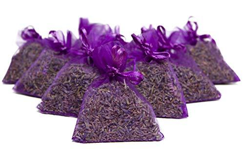 Bio Lavande de France, 10 Sacs en Organza avec 5 grammes de Bio Lavande (Violet)