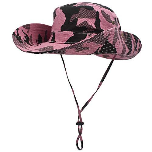 WANYING Damen Herren Outdoor Sonnenschutz Bucket Hut Fischerhut Baumwolle Two Way to Wear für Kopfumfang 55-62 cm Pink Camouflage
