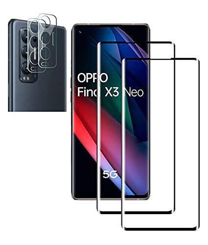 TingYR für Oppo Find X3 Neo Panzerglas Schutzfolie (2 Stück) + Oppo Find X3 Neo Kamera Panzerglas (2 Stück), 9H-Festigkeit, HD, Kratzfest.