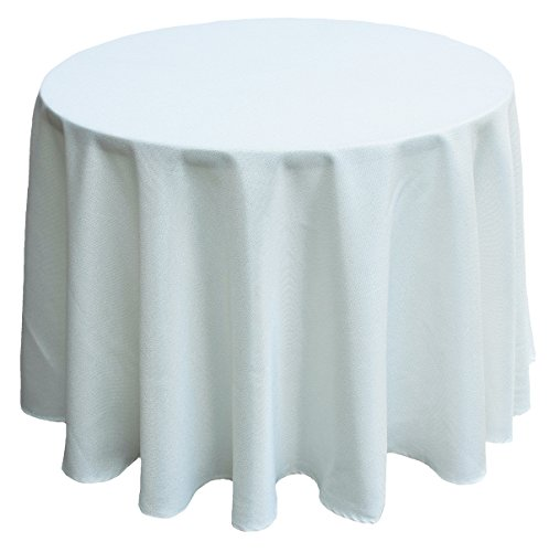 Manor Luxe Collection Gala Glistening Easy Care Solid Color Tablecloth, 70-Inch Round, Ivory, 70'