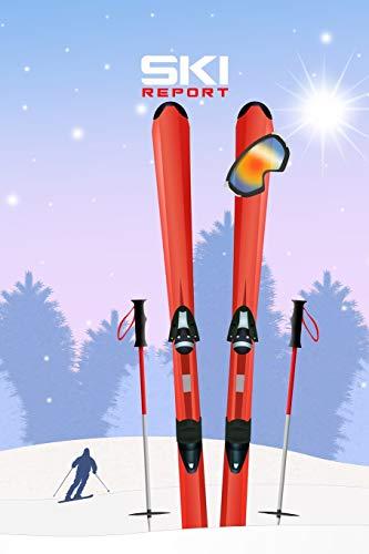 SKI REPORT PUNKTRASTER NOTIZBUCH: 6x9 Zoll (ähnlich A5 Format) Merkbuch mit Skier Ausrüstung Stöcke Brille Cover tolle Geschenkidee für Winter Sport Mann Frau Kind