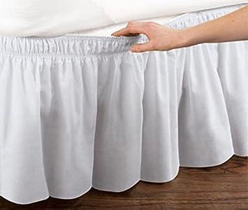 Lazy Penguin - Falda de cama elástica con volantes, 45,7 cm de caída, algodón, Blanco, Twin/Full