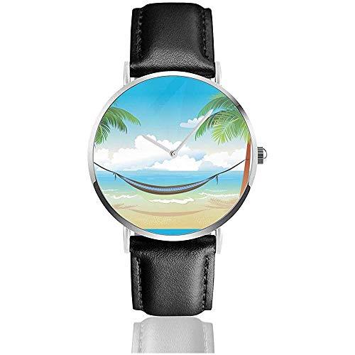 Relojes de Pulsera, Hamaca y Palmeras en la Playa Reloj Reloj de Cuero Reloj Deportivo de Moda Reloj de Pulsera Casual Negro