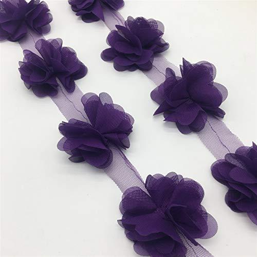 Helder 13 stks/tuin diep paarse chiffon cluster bloemen bruidsjurk bruids stof kant trim stof DIY naaien Delicaat (Color : Purple)
