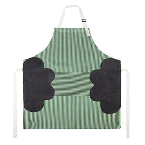 Ourine Delantales de cocina impermeables y ajustables con correas absorbentes para el cuello, bolsillo y 2 toallas de terciopelo coral, costuras laterales verdes.