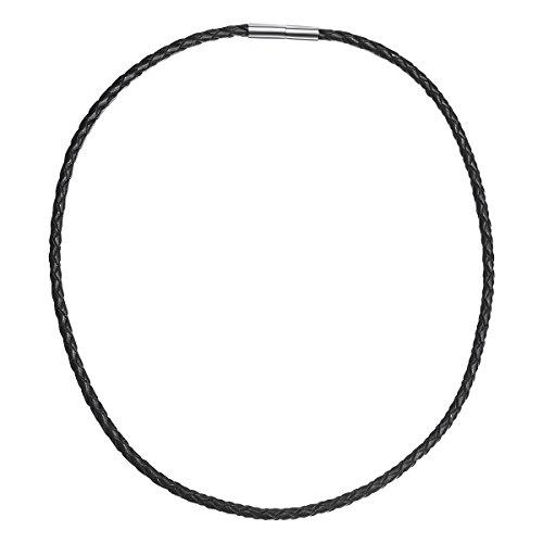 Rafaela Donata Unisex-Kette Leder Schwarz 42 cm - Basic Echtleder-Kette geflochten in Schwarz für Damen oder Herren mit Steckverschluss in Edelstahl 80300301