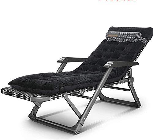 Suge Lounge Chair Reclining Außenklappstühle Mehrzweckstuhl mit Kissen, 2 Farben Zero Gravity Chair (Color : Black)