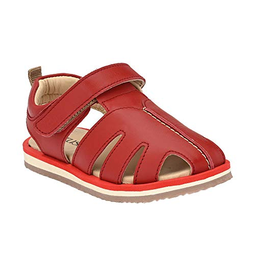 Hopscotch Tuskey Shoes Baby Girls Genuine Leather Lining Leather Strap Closure Sandals in Red Color