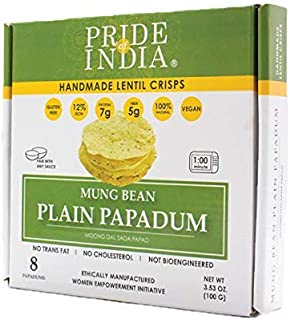 Pride Of India - Mung Bean Plain Papadum Lentil Crisp, Pack of 6 - 10 count (3.53oz - 100gm) - Protein Fiber & Iron Rich, ...