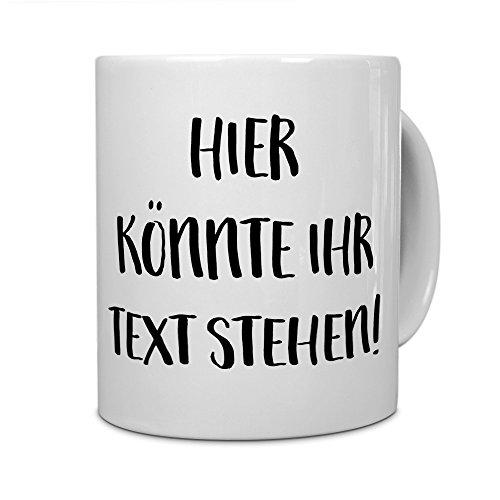 printplanet® - Tasse mit eigenem Text Bedrucken Lassen - Kaffeebecher mit Wunschtext oder Spruch Personalisieren - Becher Weiß