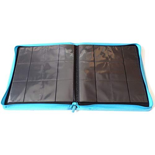 docsmagic.de Pro-Player 12-Pocket Playset Zip-Album Light Blue - 480 Card Binder - MTG - PKM - YGO - Cremallera Azul Claro