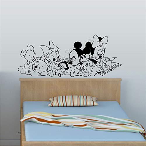 zqyjhkou Decoración de la Pared Calcomanía de la habitación del bebé Belleza Personajes de Dibujos Animados Ratón y Cartel Oscuro Vinilo Arte Extraíble Mural Moda Niños 42x103cm