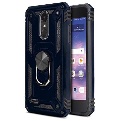 CasemartUSA Phone Case for [LG Rebel 4 (L212VL, L211BL)], [Loop Series][Navy Blue] Full Rotating Metal Ring Cover with Kickstand for LG Rebel 4 (Tracfone, Simple Mobile, Straight Talk, Total Wireless)