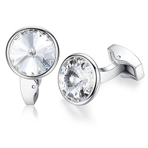 HONEY BEAR Gemelli di Cristallo Rotondi - in Acciaio Inox per Camicia da Uomo Regalo Aziendale da Sposa (Bianca)