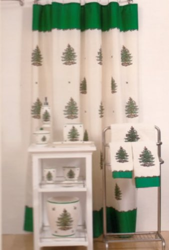 Red trim fir pine Christmas Tree Shower Curtain