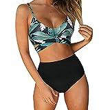 riou Mujer Bikini Traje de Baño con Cuello en V Bikinis 2021 Sujetador Dos Piezas Push-up Sexy Ropa de Playa Falda de Playa Tops y Braguitas Bañador Vacaciones