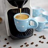 City to Cottage Cerámica en Azul Celeste y Blanco | Diseño de Lunares | Hecha y Pintada a Mano | Cerámica Esmaltada 2oz/60ml | Set de 4 Tazas de Café Espresso | Regalo