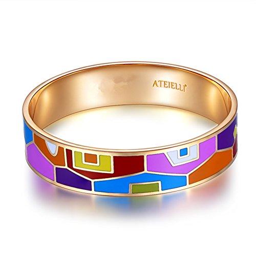 Ateielli® #JW-B59 Armreif, 18kt Roségold vergoldet, emailliert, Geschenkidee für Damen