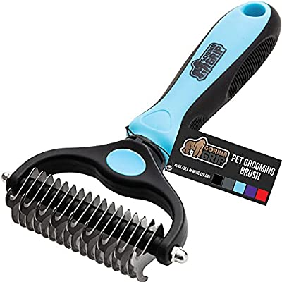 Gorilla Grip Comfort Handle Dematting and Deshedding Stainless Steel Gentle Pet Grooming Rake Brush, Prevents Mats and Tangles, 2 Sided Dog Fur Hair Comb, Groom Undercoat Haired Cats and Dogs, Blue from Hills Point Industries, LLC