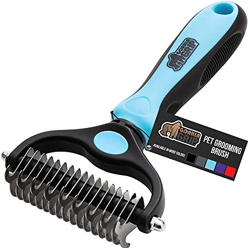 Gorilla Grip Comfort Handle Dematting and Deshedding Stainless Steel Gentle Pet Grooming Rake Brush, Prevents Mats and Tangles, 2 Sided Dog Fur Hair Comb, Groom Undercoat Haired Cats and Dogs, Blue