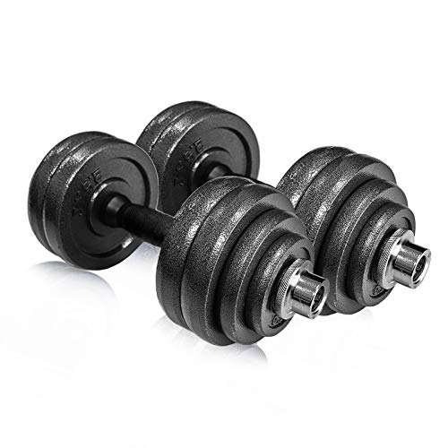 IRay Adjustable dumbbells set for men and women, free weights dumbbells set 30kg (Pack of 2) Perfect for Bodybuilding Fitness Weight Lifting Training Home Gym