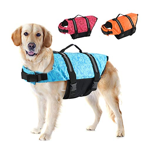 EMUST Dog Life Vests, Adjustable Dog Life Jacket with Rescue Handle, Dog Flotation Vest for...
