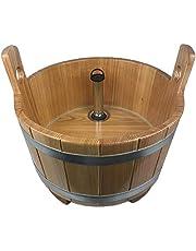 SudoreWell® Sauna voetbad van larikshout met transparante afdichting incl. afvoer met standpijp verchroomd + sokkel