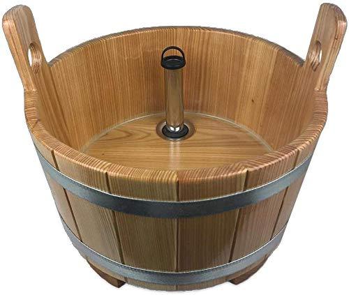 SudoreWell® Sauna Fußwanne aus Lärchenholz mit transparenter Versieglung inkl. Ablauf mit Standrohr verchromt + Sockel