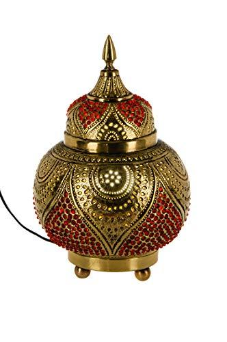 Orientalische Messing Tischlampe Lampe Abidah 28cm in Gold | Marokkanische Tischlampen klein Lampenschirm goldfarben | kleine Nachttischlampe modern für Vintage Retro & Landhaus Stil Design