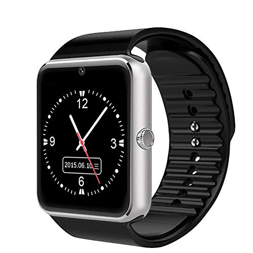 LXSTARS Reloj Inteligente con Bluetooth, Reloj Inteligente Plateado con Reloj Inteligente con Bluetooth Gt08 para TeléFonos iPhone Samsung Y Android