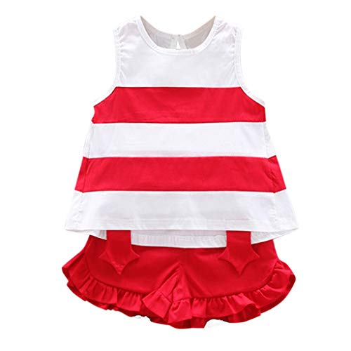 VEFSU Infant Toddlers Stripe Sleeveless O-Neck Outfitd for Baby Kids Solid Color Ruffle Shirred Clothes Red 110