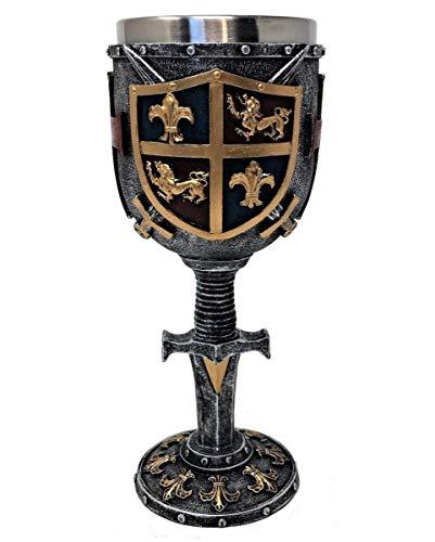 Horror-Shop Mittelalterlicher Kreuzritter Kelch mit Wappen - Ritter Dekoration